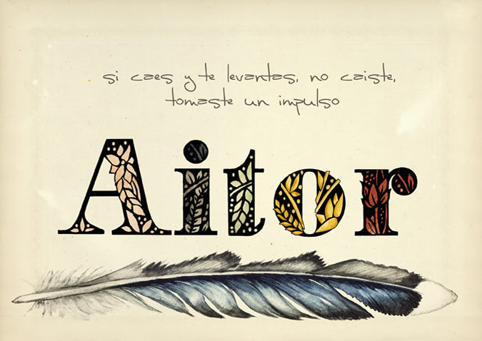 caligrafia nombre Aitor y frase: si caes y te levantas, no caiste, tomaste un impulso
