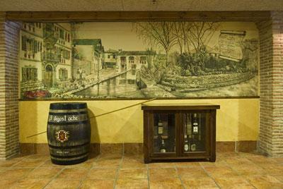 Acuarelas para murales en restaurante Landibar